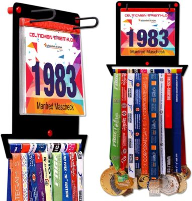 This is an image of a VICTORY HANGERS race bib holder and medal rack.