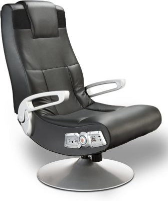 This is an image of a black leather gaming chair.