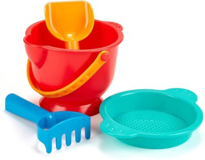 This is an image of Hape Beach Basics Sand Toy Set Including Bucket Sifter, Rake, and Shovel Toys, Multicolor