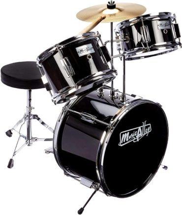 This is an image of Music Alley 3 Piece Kids Drum Set with Throne, Cymbal, Pedal & Drumsticks, Metallic