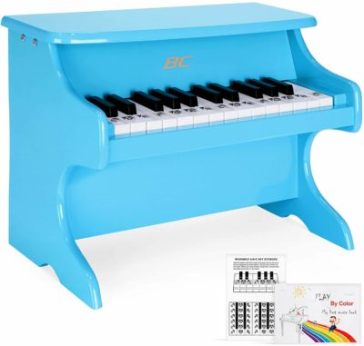 This is an image of Best Choice Products Toddler Learn-to-Play Mini Piano w/ Key Note Stickers, Music Book, Blue