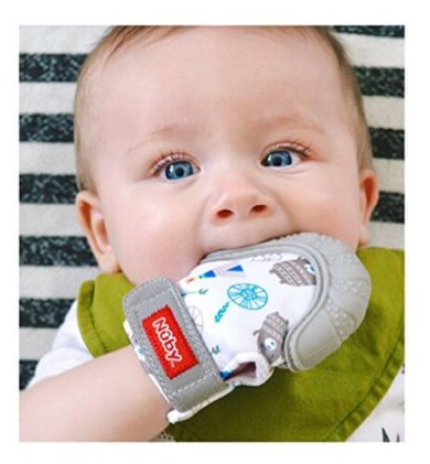 This is an image of Nuby Soothing Teething Mitten with Hygienic Travel Bag, Grey, 1 Count