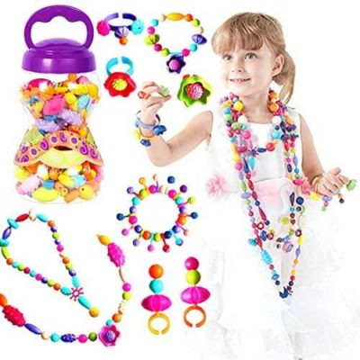 This is an image of Pop Beads for Little Girl Toys, DIY Jewelry Making Kit for Kids, Necklace Bracelet Creativity Snap Pop Beads Set, Arts and Crafts Toys for Age 3