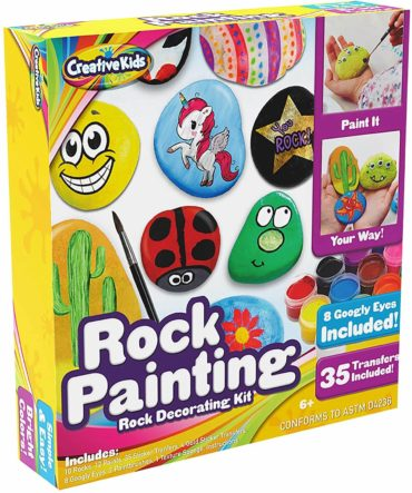 This is an image of Rock Painting Outdoor Activity Kit for Kids – DIY Art Set w/ 10 Hide and Seek Stones, 12 Acrylic Paint Tubes & 2 Brushes – Fun Googly Eyes, Easy Transfer Design for Boys & Girls