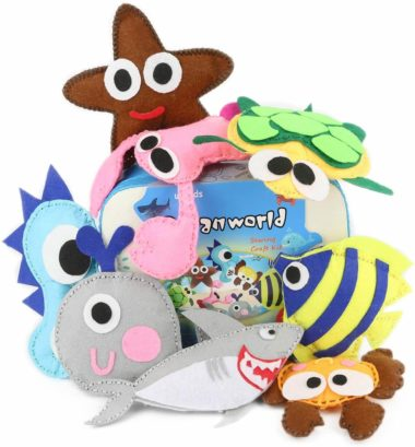 This is an image of TESMAINS Ocean Animals Kids Educational Crafts Sewing Kit