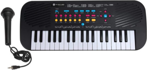 This is an image of MUSICUBE 37 Keys Kids Piano Keyboard, Portable Kids Educational Mini Piano with Microphone for Boys Girls Toddlers Kids, Black