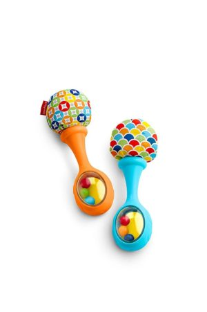 This is an image of Fisher-Price Rattle 'n Rock Maracas, Blue/Orange [Amazon Exclusive]
