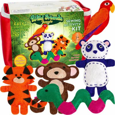 This is an image of Four Seasons Crafting Kids Sewing Kit and Animal Crafts - Fun DIY Kid Craft and Sew Kits