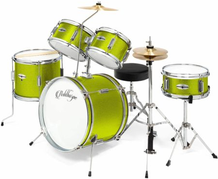 "This is an image of Ashthorpe 5-Piece Complete Kid's Junior Drum Set with Genuine Brass Cymbals - Children's Advanced Beginner Kit with 16"" Bass, Adjustable Throne, Cymbals, Hi-Hats, Pedals & Drumsticks - Green"