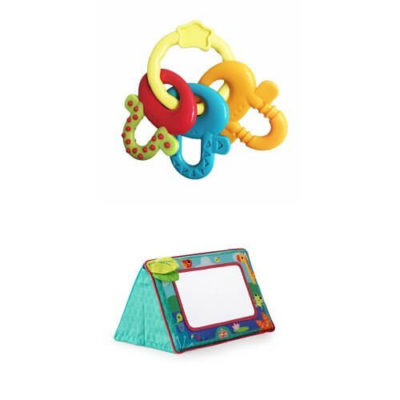 This is an image of Bright Starts License to Drool Teether & Bright Starts Sit and See Floor Mirror, Safari