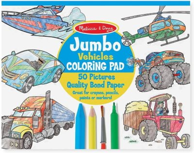 This is an image of Melissa & Doug Jumbo Coloring Pad - Vehicles