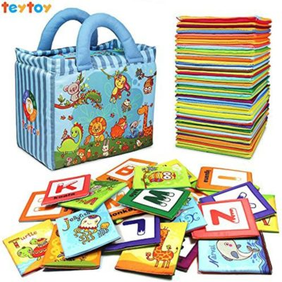 This is an image of teytoy Baby Toy Zoo Series 26pcs Soft Alphabet Cards with Cloth Bag