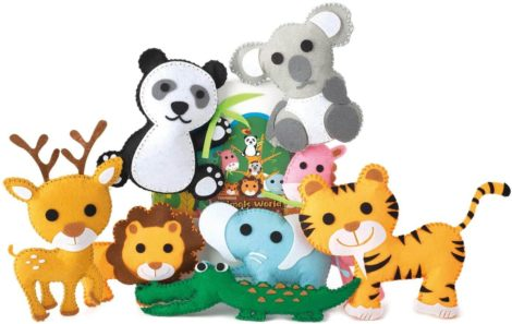 This is an image of TESMAINS Animals World Kids Educational Sewing Kit Crafts