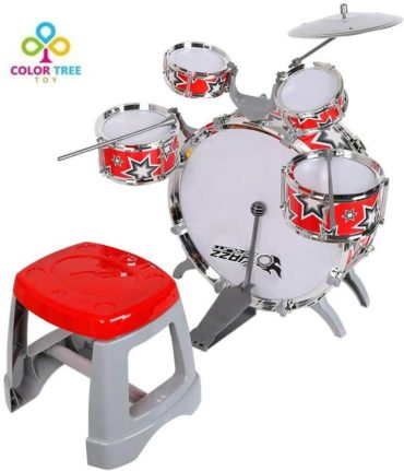 This is an image of COLOR TREE Kids Jazz Drum Set Kit – 5 Drums, Cymbal, Kick Pedal, 2 Drumsticks, Stool – Little Rockstar Kit to Stimulating Children's Creativity, - Ideal Gift Toy for Kids, Boys & Girls (Red-Jazz)