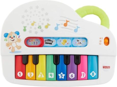 This is an image of Fisher-Price Laugh & Learn Silly Sounds Light-up Piano, Multicolored
