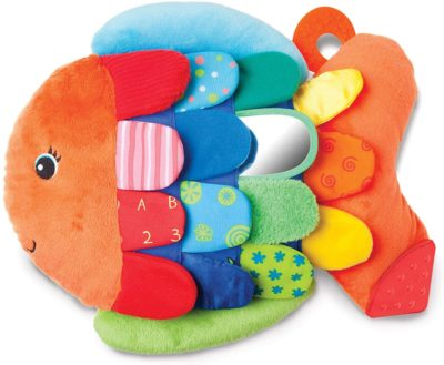 This is an image of Melissa & Doug Flip Fish Baby Toy (Developmental Toy, Squeaker Tail, Shatterproof Mirror, Washable Fabrics, Great Gift for Girls and Boys