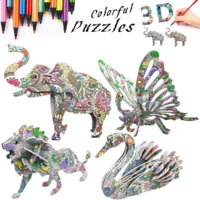 This is an image of 3D Coloring Painting Puzzles Set (4 Pack with 12 Pen Markers)-DIY Arts and Crafts for Girls & Boys-Perfect Creativity Kit & Ideal Kids