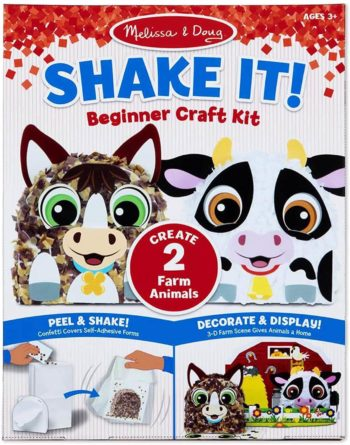 This is an image of Melissa & Doug Shake It! Farm Animals Beginner Craft Kit