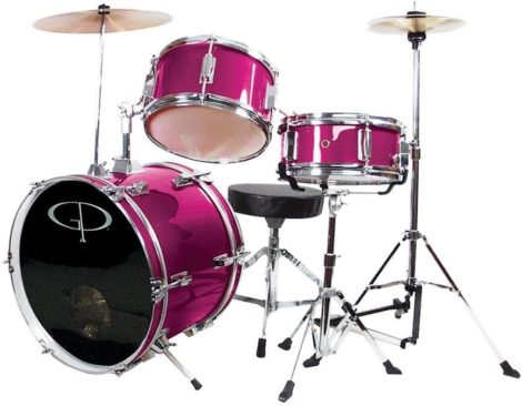 This is an image of GP Percussion GP50MPK Complete Junior Drum Set (Pink, 3-Piece Set)