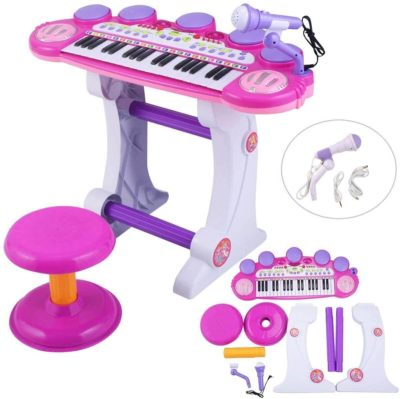 This is an image of O.B Toys&Gift Musical Instrument Piano Toy 37-Key Kids Electronic Keyboard Organ w/ Stool , Microphone , Record & Playback Custom