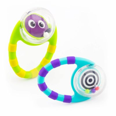 This is an image of Sassy Flip & Grip Rattle | Value 2 Pack | Developmental Toy with Rattle Beads | Spinning Discs with Mirror | For Ages 3 Months and Up