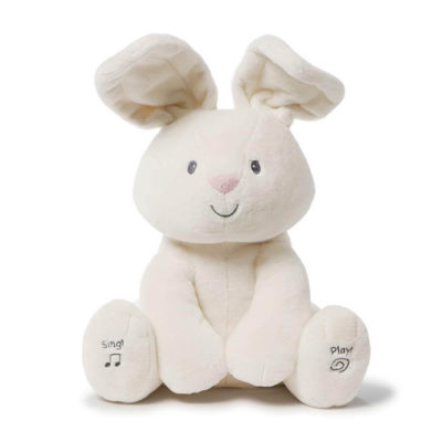 """This is an image of Baby GUND Flora The Bunny Animated Plush Stuffed Animal Toy, Cream, 12"""""""