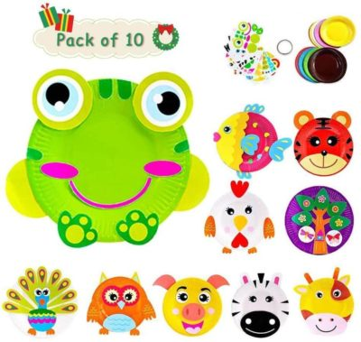 This is an image of Here Fashion Pack of 10 Paper Plate Art Kit for Kids Toddler Crafts Art Toys