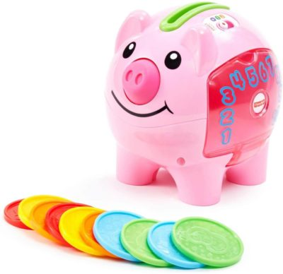 This is an image of Fisher-Price Laugh & Learn Smart Stages Piggy Bank, Cha-ching! Get ready to cash in on playtime fun and learning!