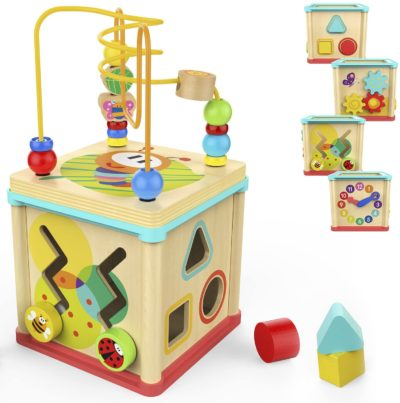 This is an image of TOP BRIGHT Activity Cube Wooden Toys for One Year Old Girl and Boy Gifts Educational Bead Maze Shape Sorter Small Size