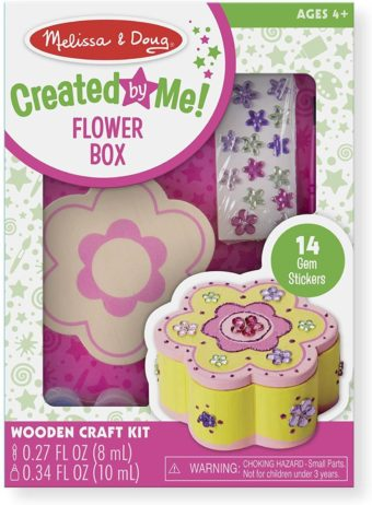 This is an image of Melissa & Doug Decorate-Your-Own Wooden Flower Box Craft Kit