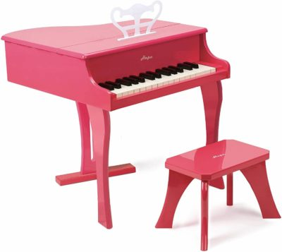 This is an image of Hape Happy Grand Piano in Pink Toddler Wooden Musical Instrument
