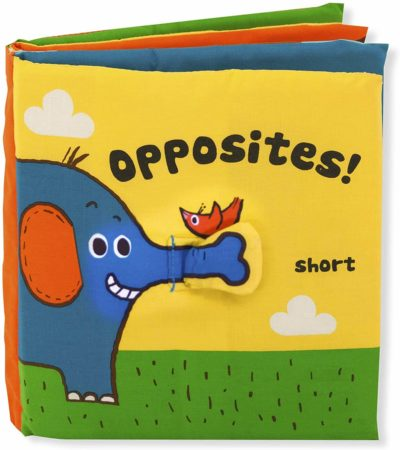 This is an image of Melissa & Doug Soft Activity Book - Opposites, The Original (Developmental Toy, Machine Washable, Great Gift for Girls and Boys - Best for Babies, Toddlers, All Ages)