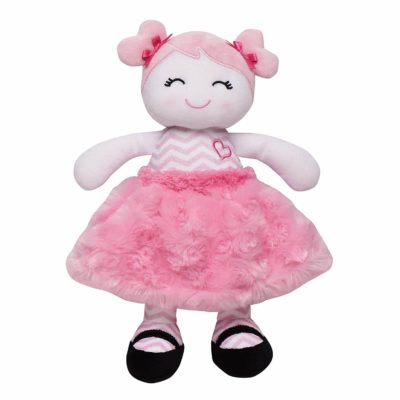 This is an image of Baby Starters Plush Snuggle Buddy Baby Doll, Sugar N Spice Marisa with Chevron Stripes