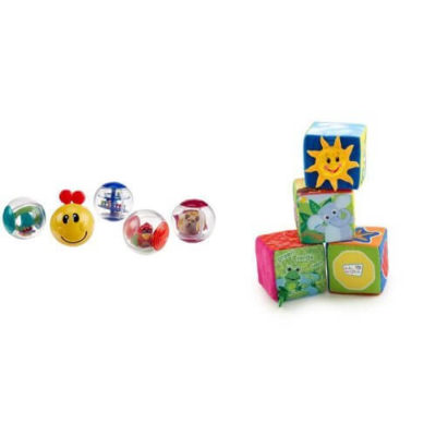 This is an image of Baby Einstein Roller-pillar Activity Balls and Explore & Discover Soft Blocks