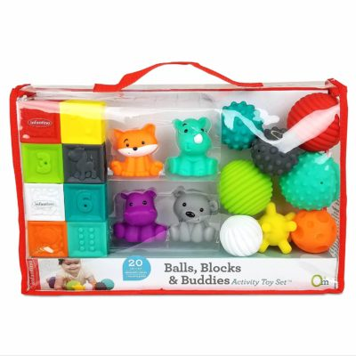 This is an image of Infantino Balls, Blocks, & Buddies Activity Toy Set