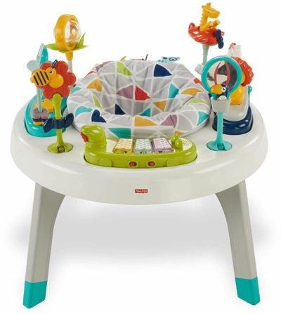 This is an image of Fisher-Price 2-in-1 Sit-to-Stand Activity Center, Spin 'n Play Safari