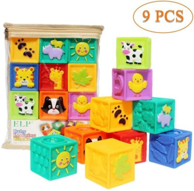 Image of Kingtree Baby Blocks (Set of 9), Squeeze Building Blocks Soft Stacking Block Set for Toddlers, Teething Chewing Educational Baby Toys for 6 Months and up with Numbers Animals BPA Free