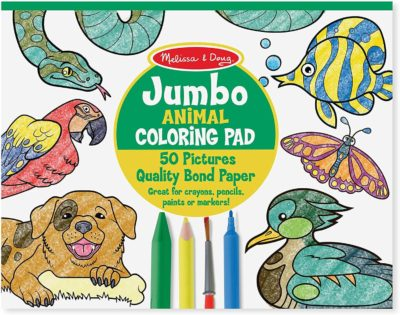 This is an image of Melissa & Doug Jumbo Coloring Pad - Animals