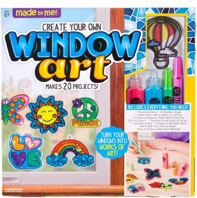 image of Made By Me Create Your Own Window Art by Horizon Group USA, Paint Your Own Suncatchers. Kit Includes 12 Pre-Printed Suncatchers + DIY Acetate Sheet, Window Paint, Suction Cups