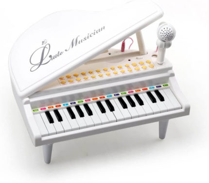 This is an image of Amy&Benton Piano Keyboard Toy for Kids 31 Keys White Multifunctional Electronic Toy Piano with Microphone for Baby Toddler