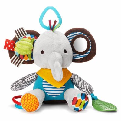 This is an image of Skip Hop Bandana Buddies Baby Activity and Teething Toy with Multi-Sensory Rattle and Textures, Elephant