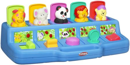 This is an image of Playskool Poppin' Pals Pop-up Activity Toy for Babies and Toddlers