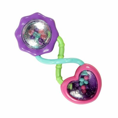 This is an image of Bright Starts Rattle and Shake Barbell Toy - Pretty in Pink,