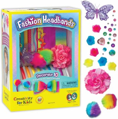 This is an image of Creativity for Kids Fashion Headbands Craft Kit, Makes 10 Unique Hair Accessories