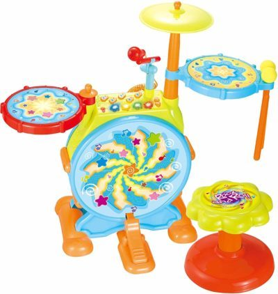 This is an image of Drum Set Toy Musical Instruments Includes Sing Along Microphone, Chair, and Drum Sticks for Toddlers