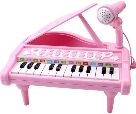 This is an image of Amy&Benton Toddler Piano Toy Keyboard Pink for Girls Birthday Gift 1 2 3 Years Old Kids 24 Keys Multifunctional Toy Piano