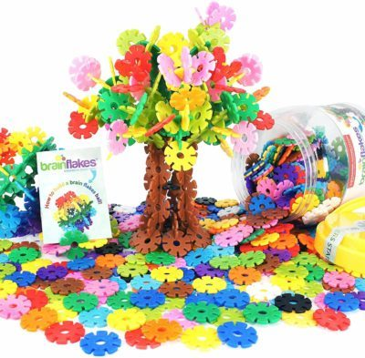 This is an image of VIAHART Brain Flakes 500 Piece Interlocking Plastic Disc Set | A Creative and Educational Alternative to Building Blocks | Tested for Children's Safety | A Great STEM Toy for Both Boys and Girls!