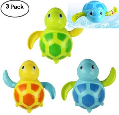 This is an image of WedFeir 3pcs Bath Swimming Turtle Toy for Baby Toddler, Wind Up Chain Bathing Water Toy, Swimming Bathtub Pool Cute Swimming Turtle Toys