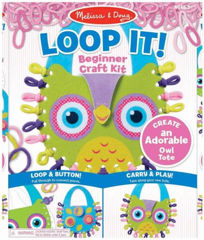 This is an image of Melissa & Doug Loop It! Owl Tote Beginner Craft Kit