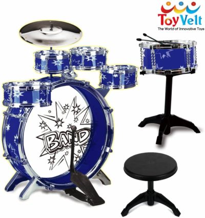 This is an image of 12 Piece Kids Jazz Drum Set – 6 Drums, Cymbal, Chair, Kick Pedal, 2 Drumsticks, Stool